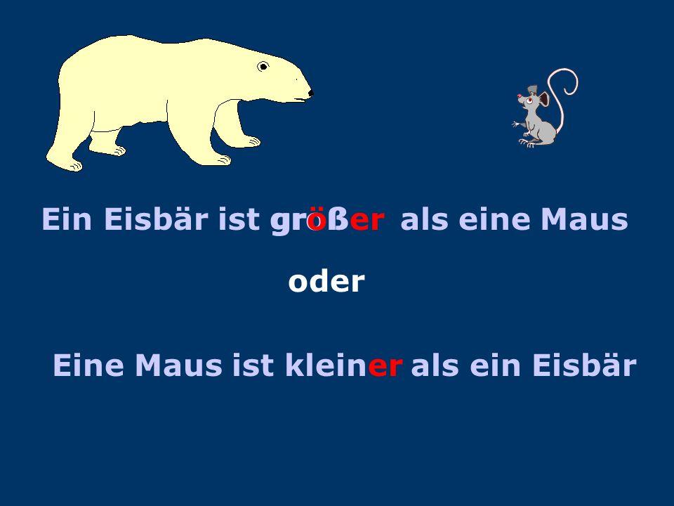 VERGLEICHECOMPARISONS Ein Eisbär Eine Maus Ein Eisbär ist groß Eine Maus ist nicht groß