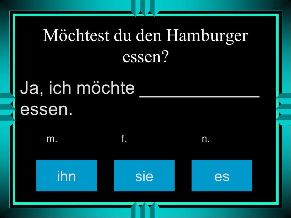 Möchtest du den Hamburger essen ihnsiees m. f. n. Ja, ich möchte ____________ essen.