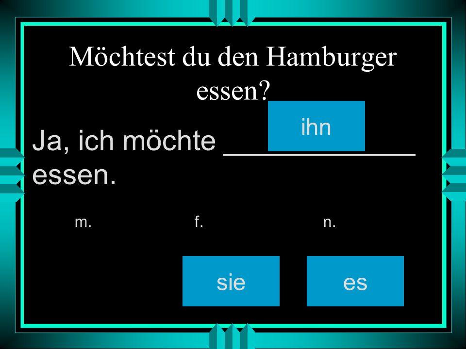 Möchtest du den Hamburger essen ihn siees m. f. n. Ja, ich möchte ____________ essen.