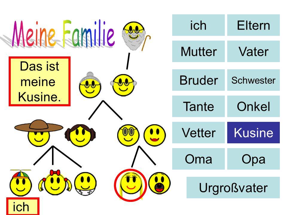 Eltern MutterVater Bruder Schwester TanteOnkel VetterKusine OmaOpa Urgroßvater Das ist meine Kusine. ich