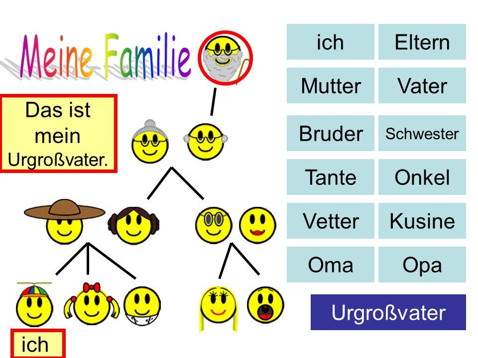 ich Eltern MutterVater Bruder Schwester TanteOnkel VetterKusine OmaOpa Urgroßvater Das ist mein Urgroßvater. ich