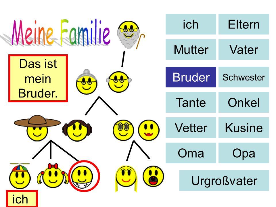 Eltern MutterVater Bruder Schwester TanteOnkel VetterKusine OmaOpa Urgroßvater Das ist mein Bruder. ich