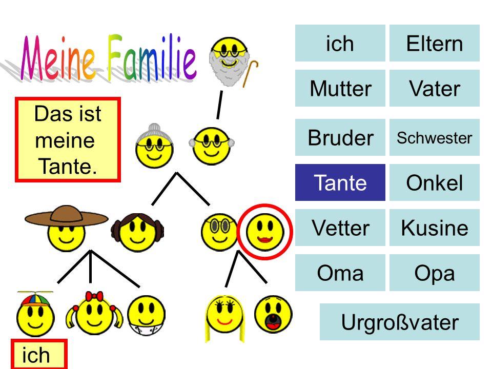 Eltern MutterVater Bruder Schwester TanteOnkel VetterKusine OmaOpa Urgroßvater Das ist meine Tante. ich