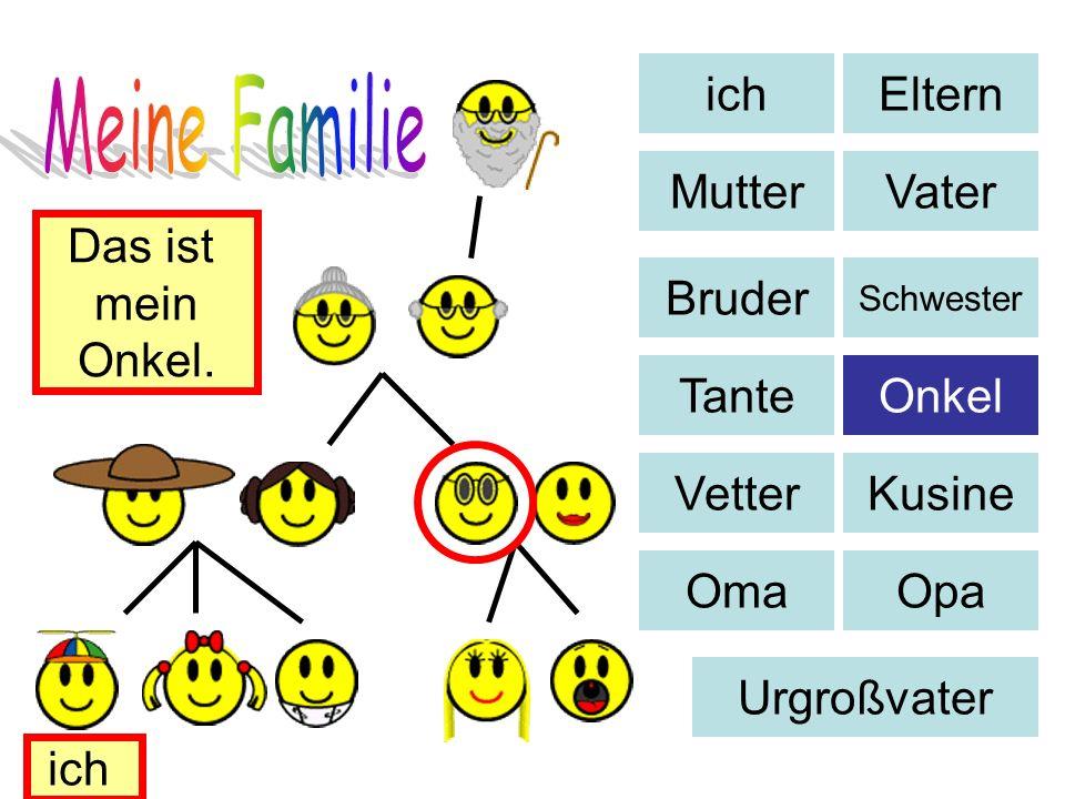 Eltern MutterVater Bruder Schwester TanteOnkel VetterKusine OmaOpa Urgroßvater Das ist mein Onkel. ich