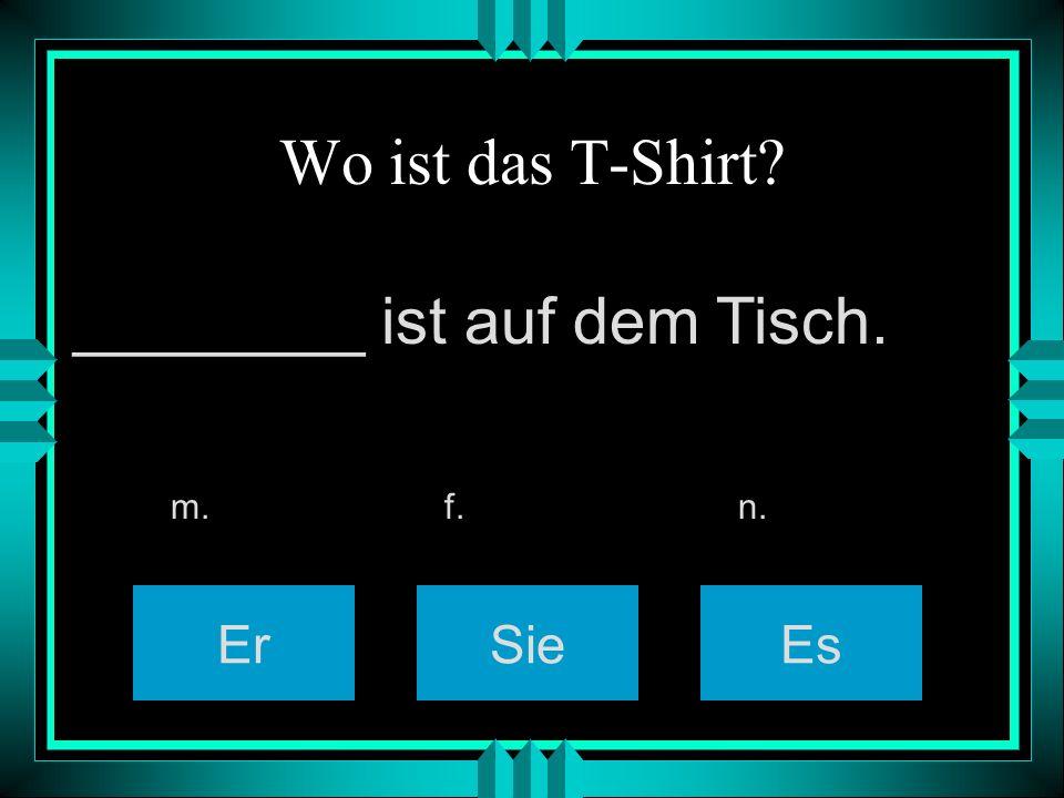 Wo ist das T-Shirt? ErSieEs m. f. n. ________ ist auf dem Tisch.