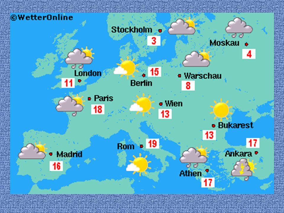 In London ist es bewölkt. Es regnet. Die Temperatur beträgt 11 Grad.