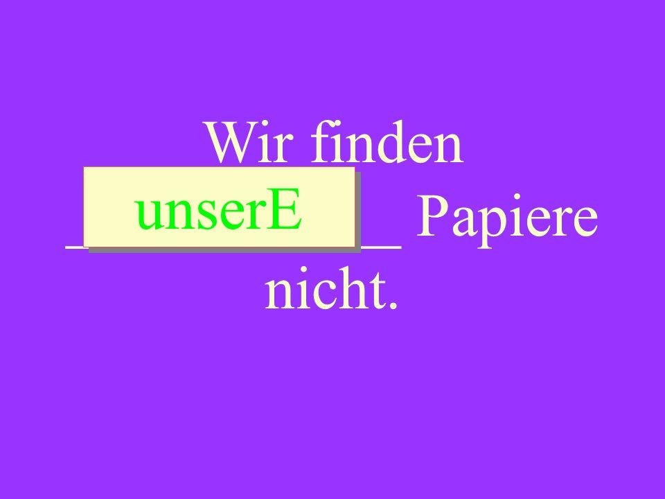 Wir finden ___________ Papiere nicht. unserE unserE