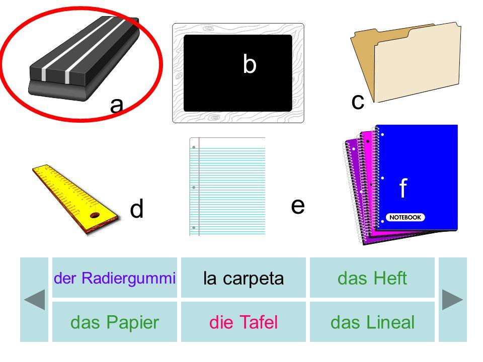 der Radiergummi la carpetadas Heft das Papierdie Tafeldas Lineal a b c d e f