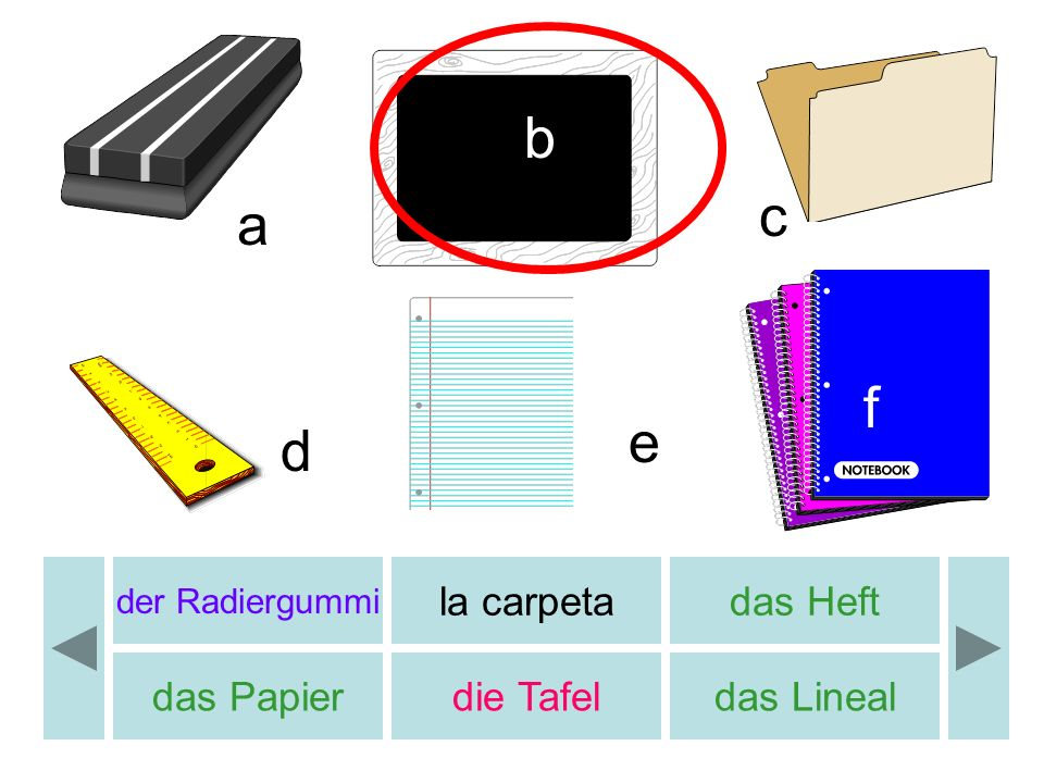 der Radiergummi la carpetadas Heft das Papierdie Tafeldas Lineal b c d e a f