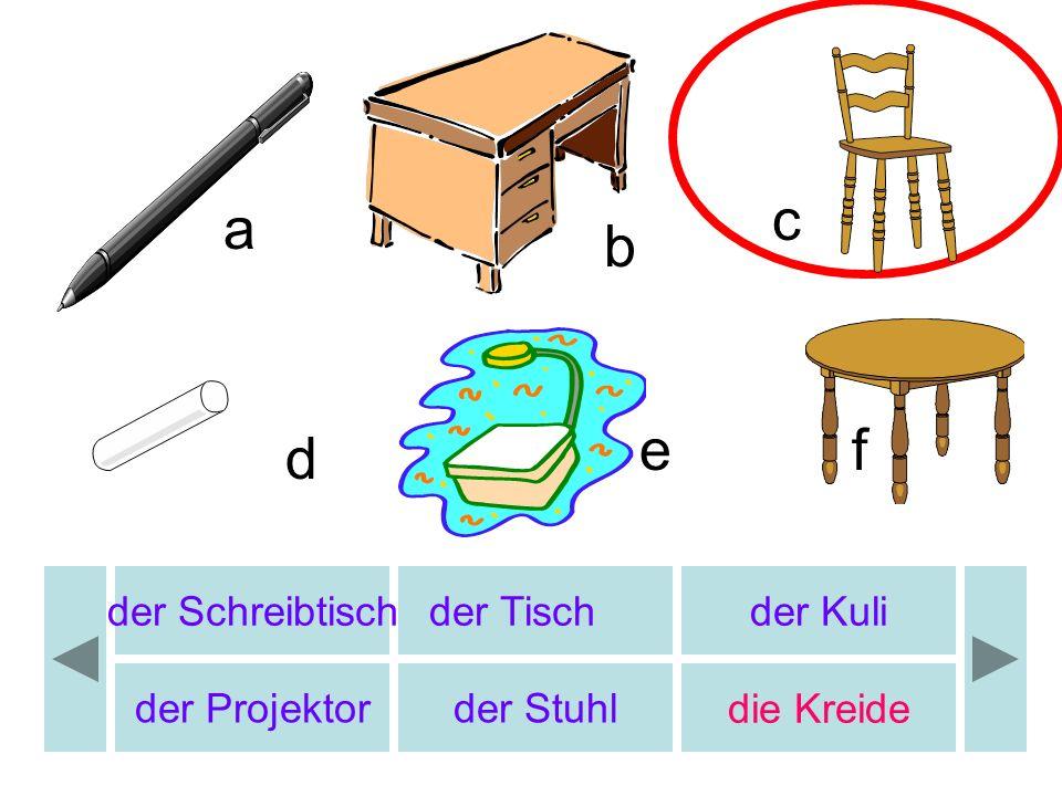 der Schreibtischder Tischder Kuli der Projektorder Stuhldie Kreide a c d ef b