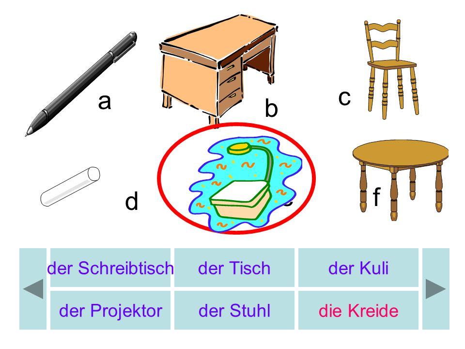 der Schreibtischder Tischder Kuli der Projektor der Stuhl die Kreide a c d ef b
