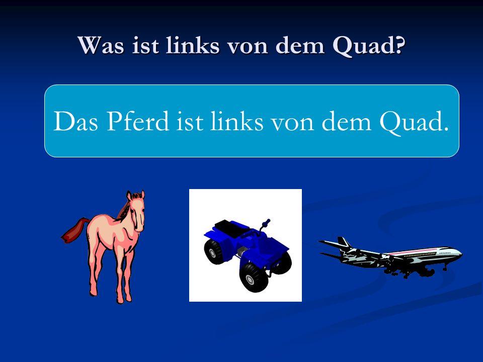 Was ist links von dem Quad? Das Pferd ist links von dem Quad.