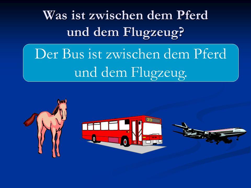 Was ist zwischen dem Pferd und dem Flugzeug? Der Bus ist zwischen dem Pferd und dem Flugzeug.