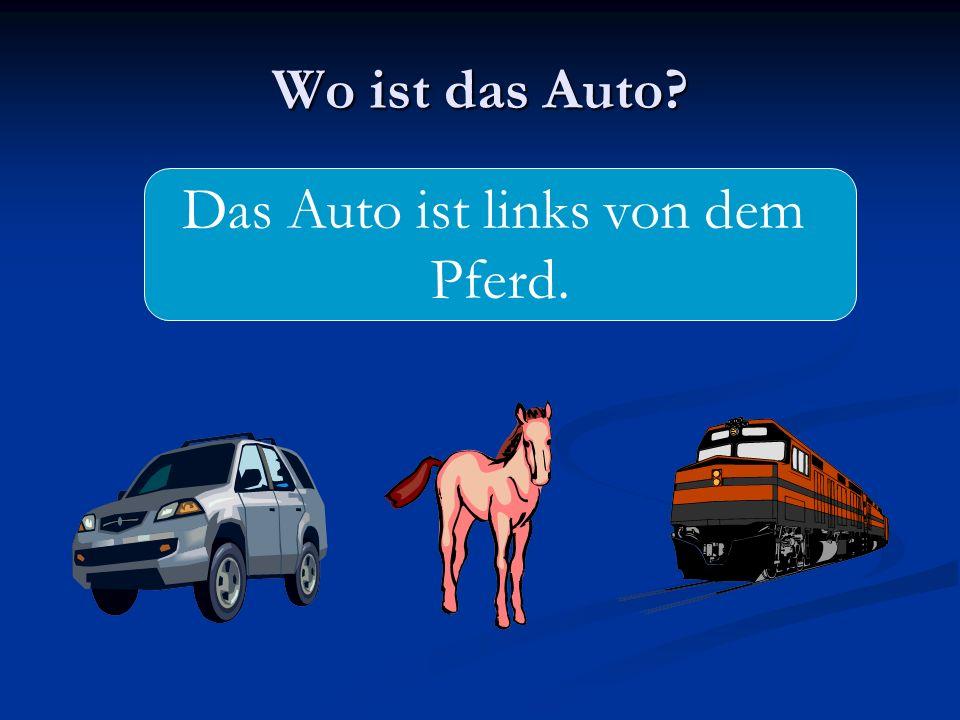 Wo ist das Auto? Das Auto ist links von dem Pferd.
