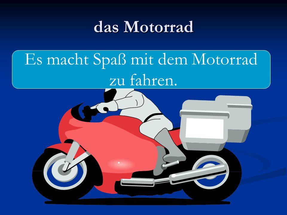 das Motorrad Es macht Spaß mit dem Motorrad zu fahren.
