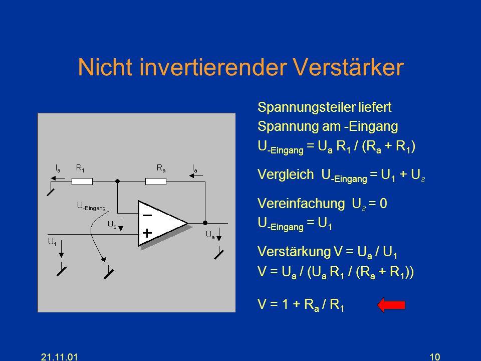 21.11.0110 Nicht invertierender Verstärker Spannungsteiler liefert Spannung am -Eingang U -Eingang = U a R 1 / (R a + R 1 ) Vergleich U -Eingang = U 1