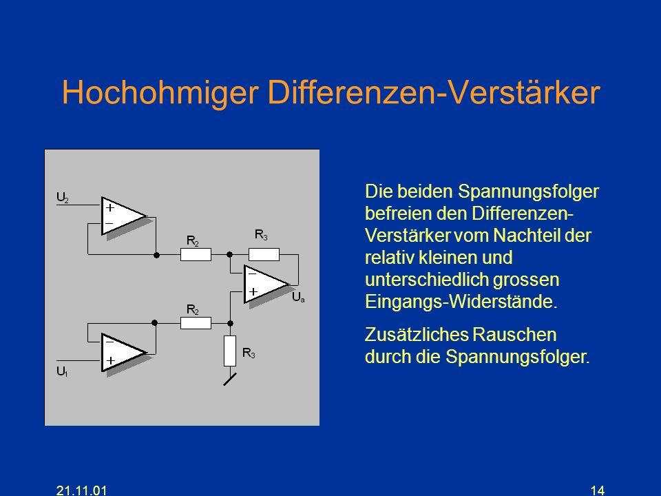 21.11.0114 Hochohmiger Differenzen-Verstärker Die beiden Spannungsfolger befreien den Differenzen- Verstärker vom Nachteil der relativ kleinen und unt