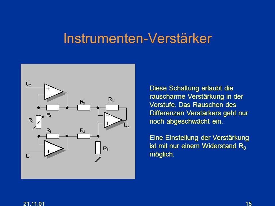 21.11.0115 Instrumenten-Verstärker Diese Schaltung erlaubt die rauscharme Verstärkung in der Vorstufe. Das Rauschen des Differenzen Verstärkers geht n