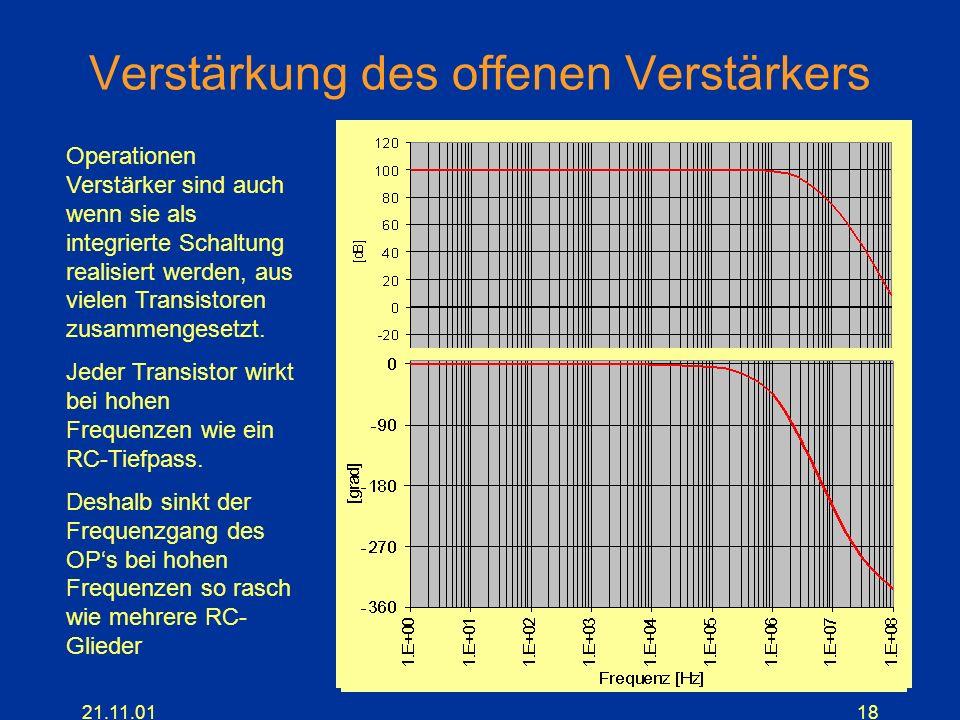 21.11.0118 Verstärkung des offenen Verstärkers Operationen Verstärker sind auch wenn sie als integrierte Schaltung realisiert werden, aus vielen Trans