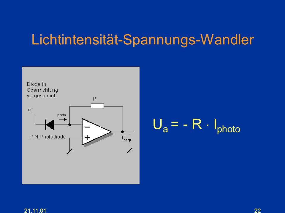 21.11.0122 Lichtintensität-Spannungs-Wandler U a = - R I photo