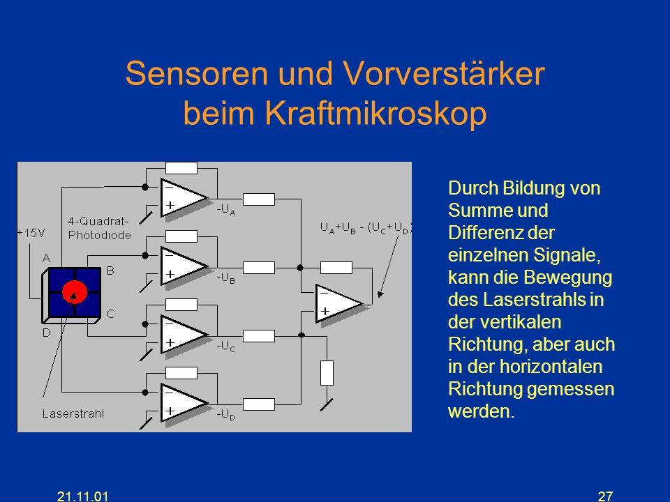 21.11.0127 Sensoren und Vorverstärker beim Kraftmikroskop Durch Bildung von Summe und Differenz der einzelnen Signale, kann die Bewegung des Laserstra