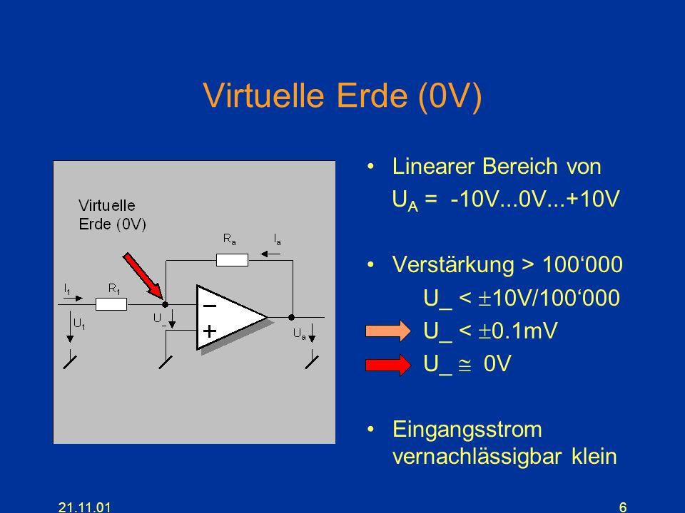 21.11.016 Virtuelle Erde (0V) Linearer Bereich von U A = -10V...0V...+10V Verstärkung > 100000 U_ < 10V/100000 U_ < 0.1mV U_ 0V Eingangsstrom vernachl