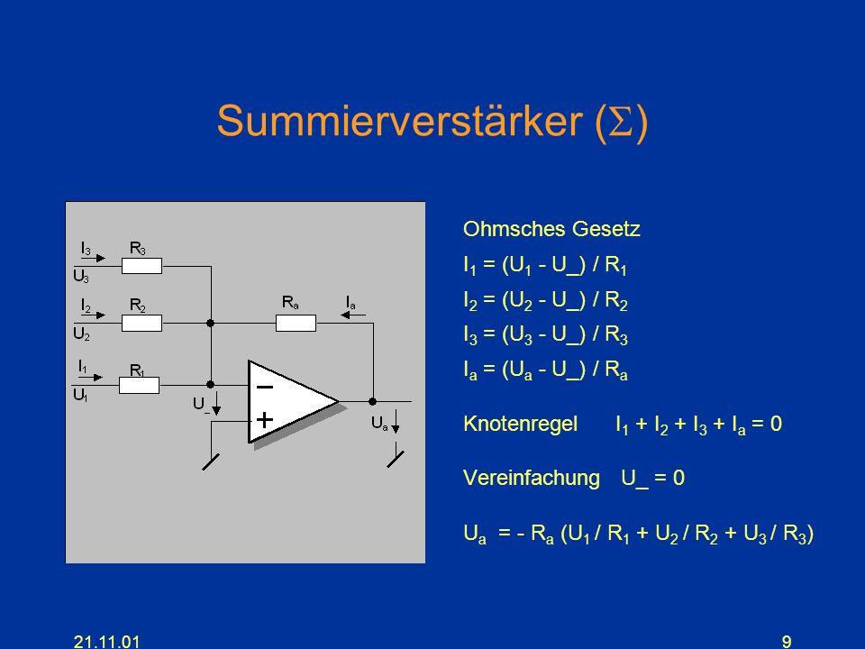 21.11.019 Summierverstärker ( ) Ohmsches Gesetz I 1 = (U 1 - U_) / R 1 I 2 = (U 2 - U_) / R 2 I 3 = (U 3 - U_) / R 3 I a = (U a - U_) / R a Knotenrege