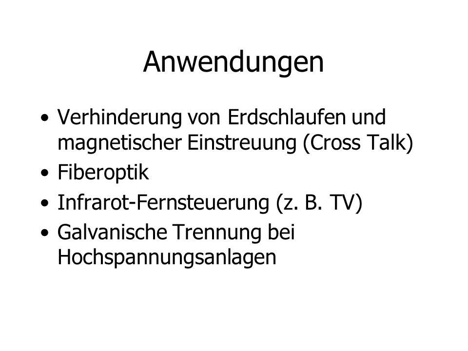 Anwendungen Verhinderung von Erdschlaufen und magnetischer Einstreuung (Cross Talk) Fiberoptik Infrarot-Fernsteuerung (z. B. TV) Galvanische Trennung
