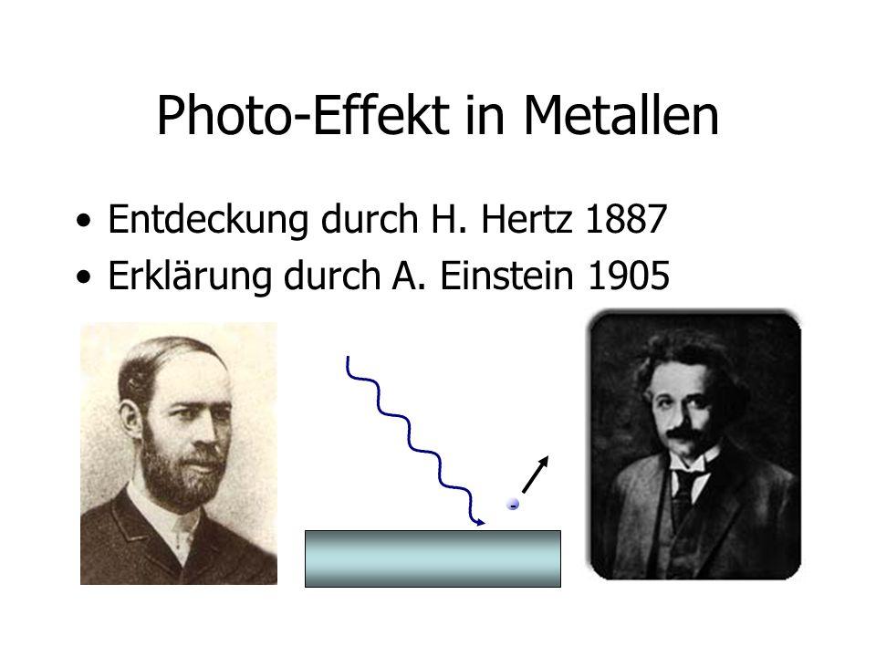 Photo-Effekt in Metallen Entdeckung durch H. Hertz 1887 Erklärung durch A. Einstein 1905 -