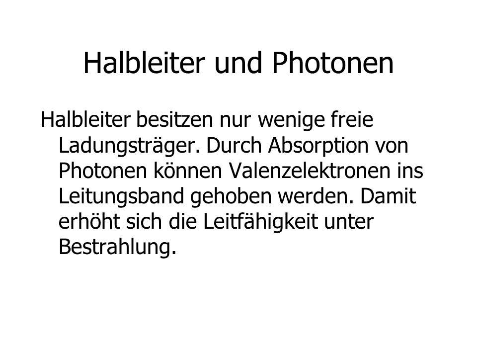 Halbleiter und Photonen Halbleiter besitzen nur wenige freie Ladungsträger. Durch Absorption von Photonen können Valenzelektronen ins Leitungsband geh