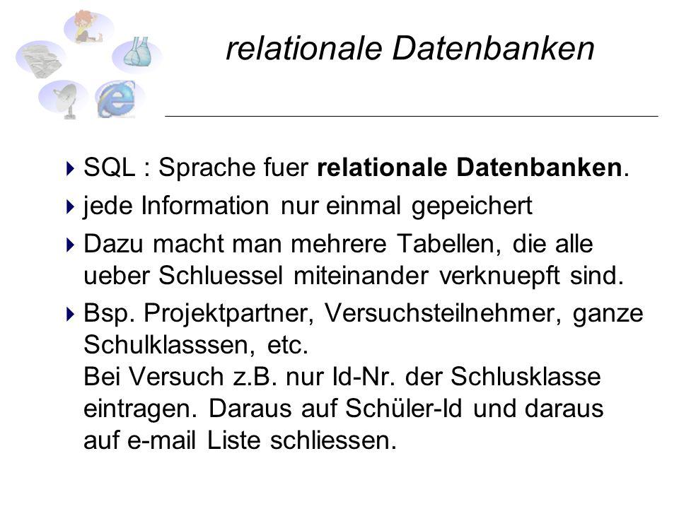 relationale Datenbanken SQL : Sprache fuer relationale Datenbanken. jede Information nur einmal gepeichert Dazu macht man mehrere Tabellen, die alle u