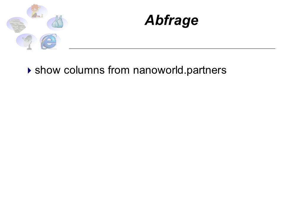 Abfrage show columns from nanoworld.partners
