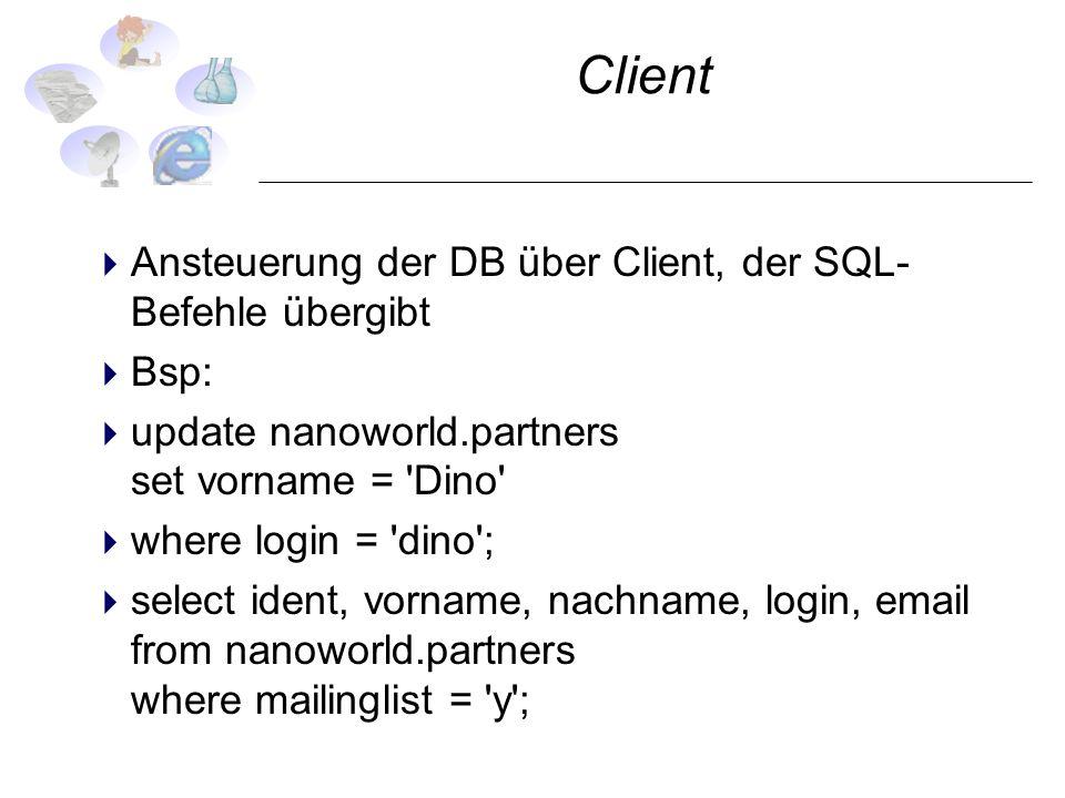 Client Ansteuerung der DB über Client, der SQL- Befehle übergibt Bsp: update nanoworld.partners set vorname = 'Dino' where login = 'dino'; select iden