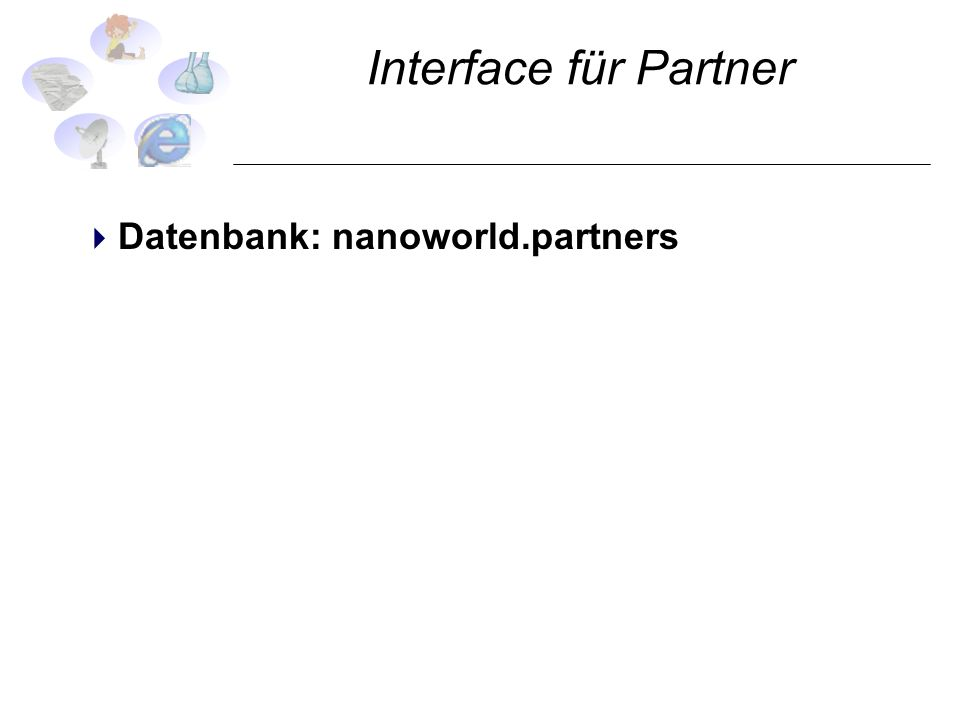 Interface für Partner Datenbank: nanoworld.partners