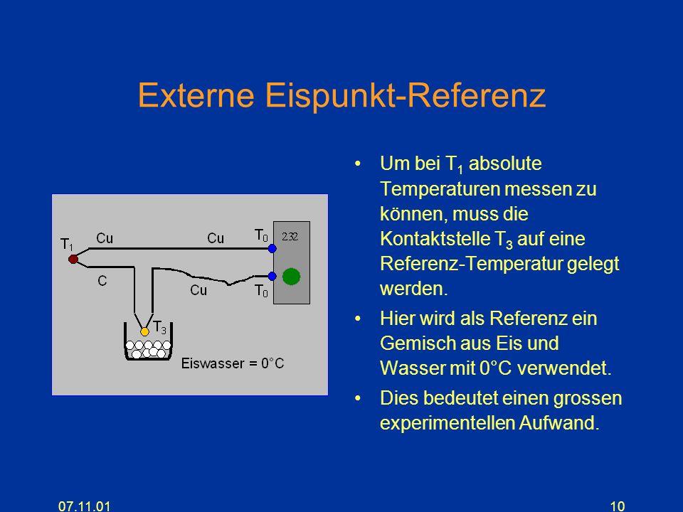 07.11.0110 Externe Eispunkt-Referenz Um bei T 1 absolute Temperaturen messen zu können, muss die Kontaktstelle T 3 auf eine Referenz-Temperatur gelegt