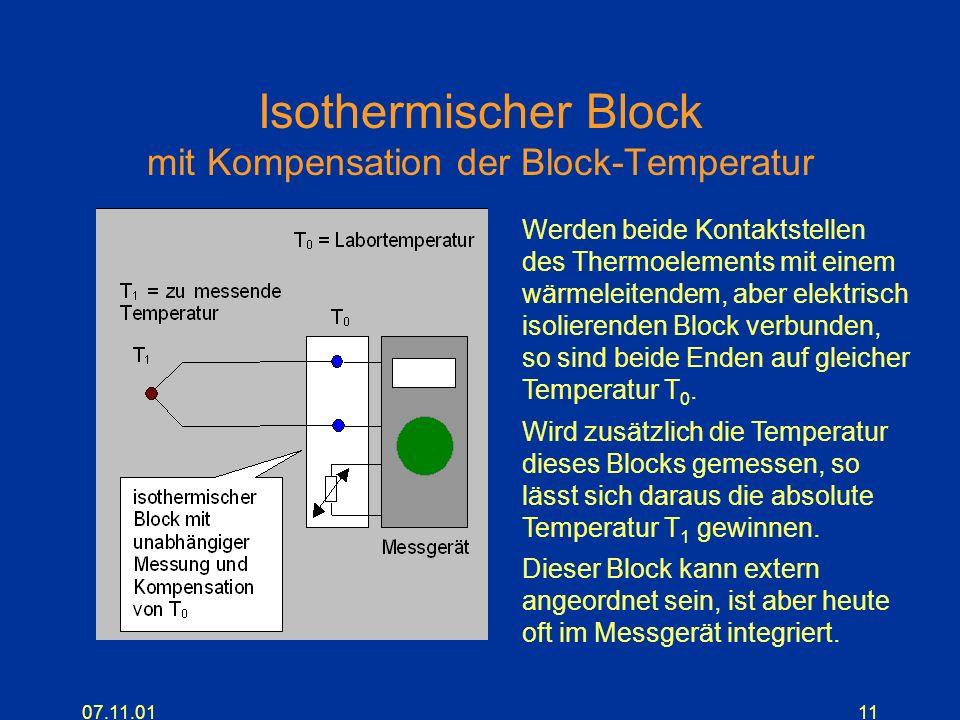 07.11.0111 Isothermischer Block mit Kompensation der Block-Temperatur Werden beide Kontaktstellen des Thermoelements mit einem wärmeleitendem, aber el