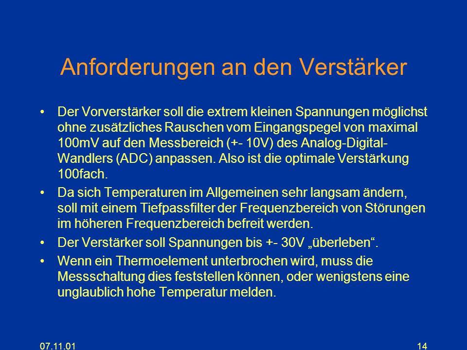 07.11.0114 Anforderungen an den Verstärker Der Vorverstärker soll die extrem kleinen Spannungen möglichst ohne zusätzliches Rauschen vom Eingangspegel