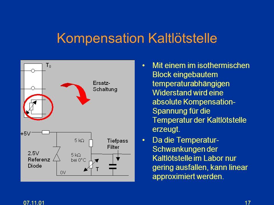07.11.0117 Kompensation Kaltlötstelle Mit einem im isothermischen Block eingebautem temperaturabhängigen Widerstand wird eine absolute Kompensation- S