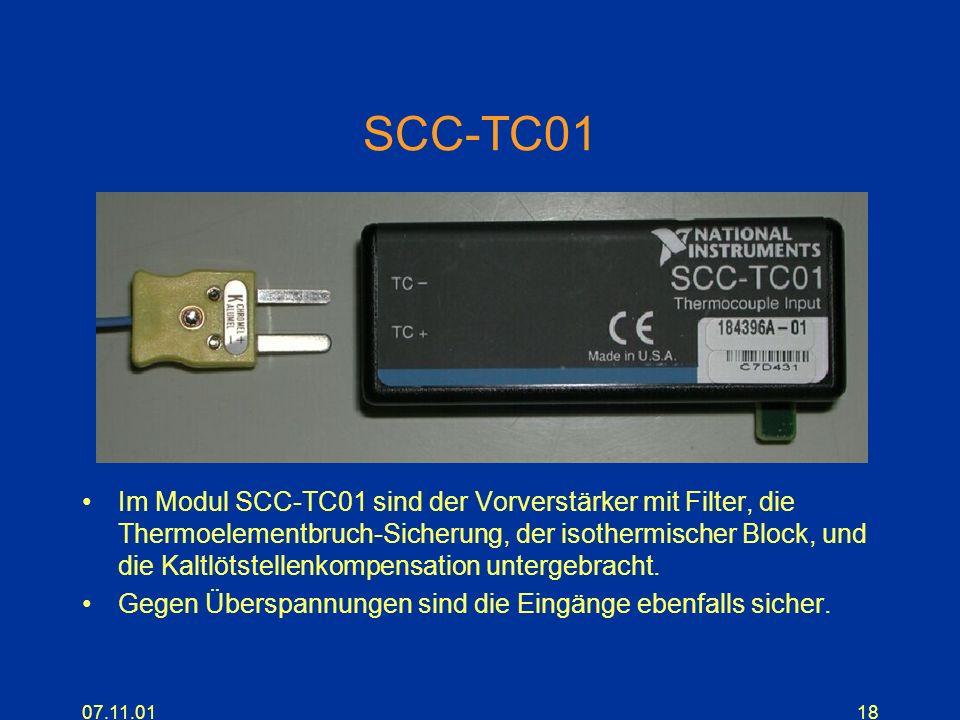 07.11.0118 SCC-TC01 Im Modul SCC-TC01 sind der Vorverstärker mit Filter, die Thermoelementbruch-Sicherung, der isothermischer Block, und die Kaltlötst