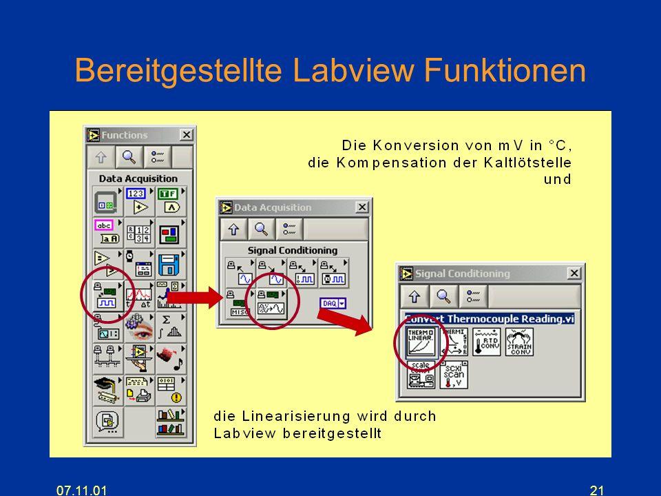07.11.0121 Bereitgestellte Labview Funktionen
