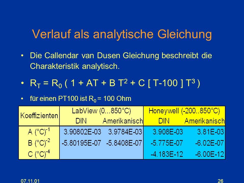 07.11.0126 Verlauf als analytische Gleichung Die Callendar van Dusen Gleichung beschreibt die Charakteristik analytisch. R T = R 0 ( 1 + AT + B T 2 +