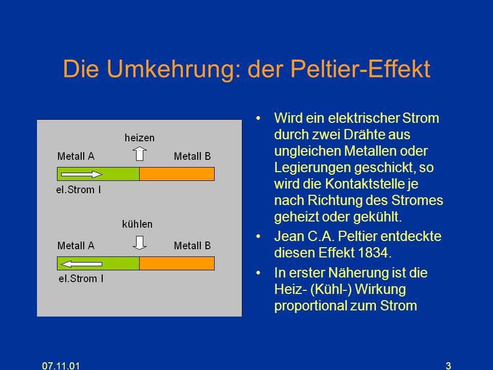 07.11.013 Die Umkehrung: der Peltier-Effekt Wird ein elektrischer Strom durch zwei Drähte aus ungleichen Metallen oder Legierungen geschickt, so wird