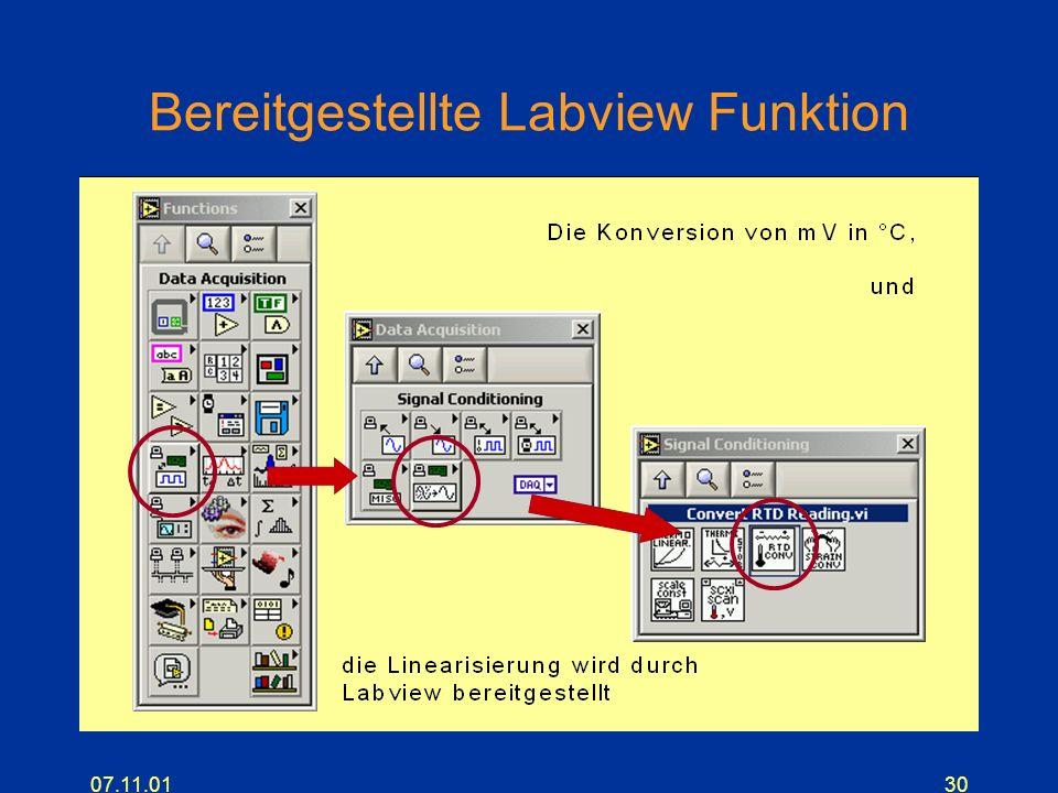 07.11.0130 Bereitgestellte Labview Funktion