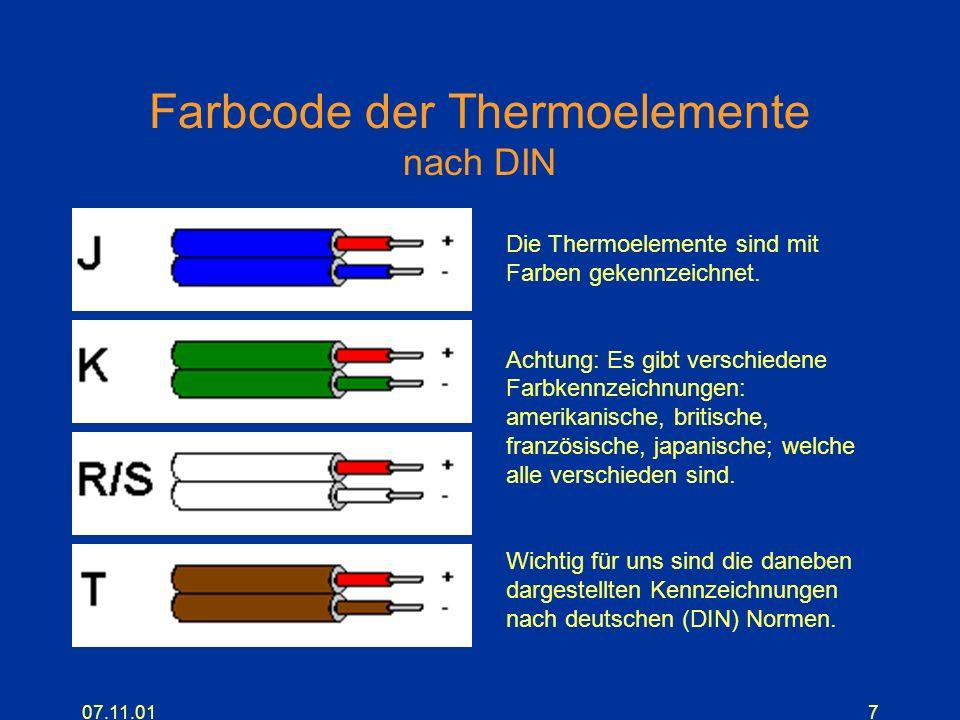 07.11.017 Farbcode der Thermoelemente nach DIN Die Thermoelemente sind mit Farben gekennzeichnet. Achtung: Es gibt verschiedene Farbkennzeichnungen: a