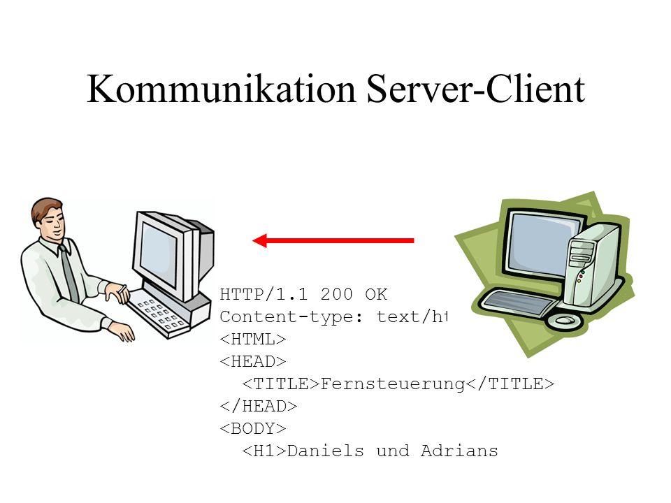 HTTP/1.1 200 OK Content-type: text/html Fernsteuerung Daniels und Adrians Kommunikation Server-Client