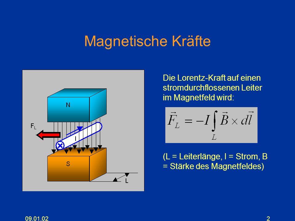 09.01.022 Magnetische Kräfte Die Lorentz-Kraft auf einen stromdurchflossenen Leiter im Magnetfeld wird: (L = Leiterlänge, I = Strom, B = Stärke des Ma