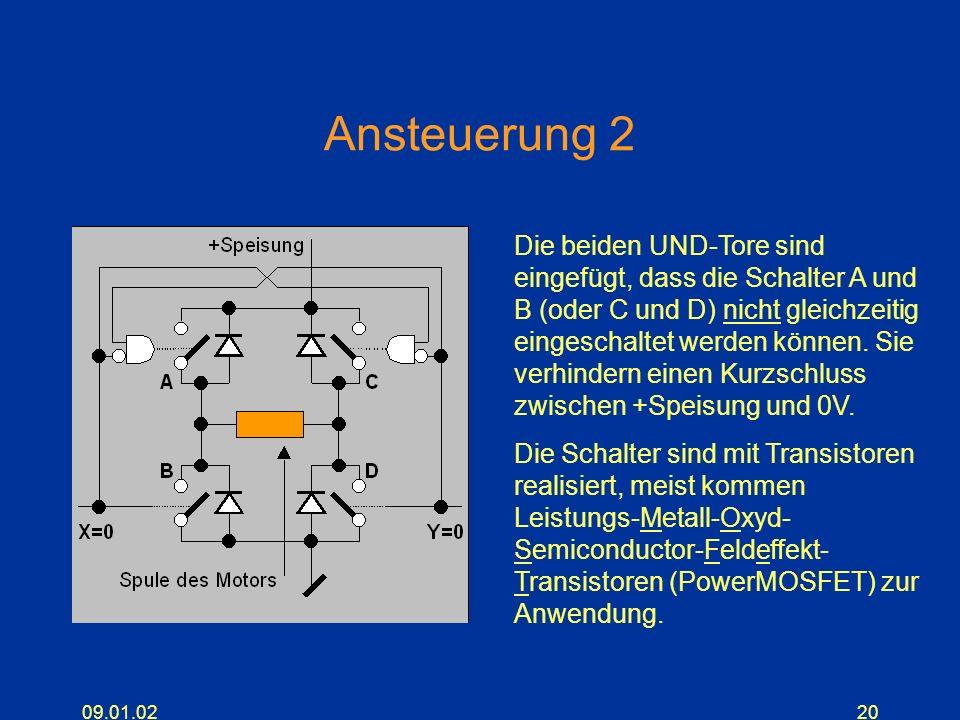 09.01.0220 Ansteuerung 2 Die beiden UND-Tore sind eingefügt, dass die Schalter A und B (oder C und D) nicht gleichzeitig eingeschaltet werden können.