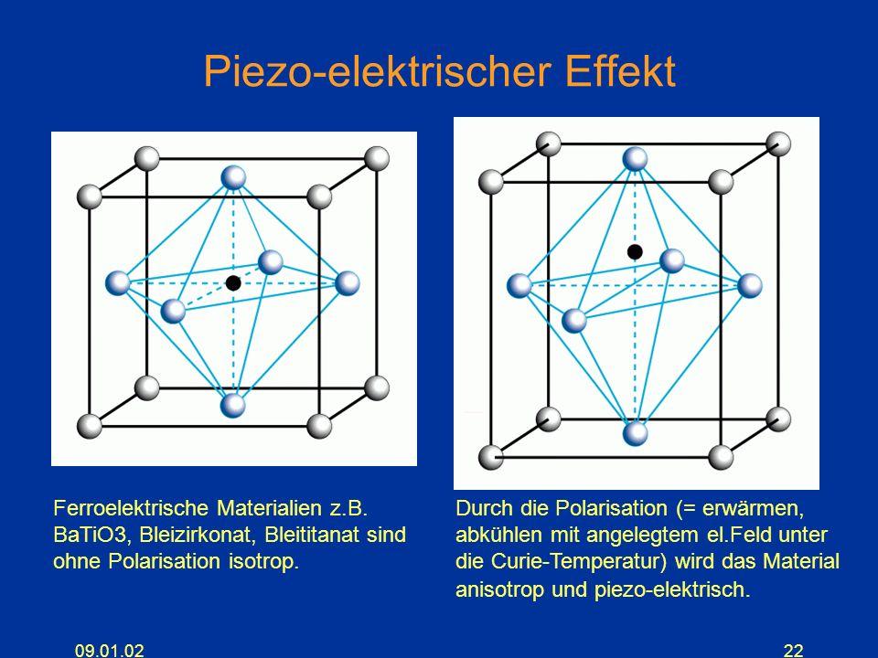 09.01.0222 Piezo-elektrischer Effekt Ferroelektrische Materialien z.B. BaTiO3, Bleizirkonat, Bleititanat sind ohne Polarisation isotrop. Durch die Pol