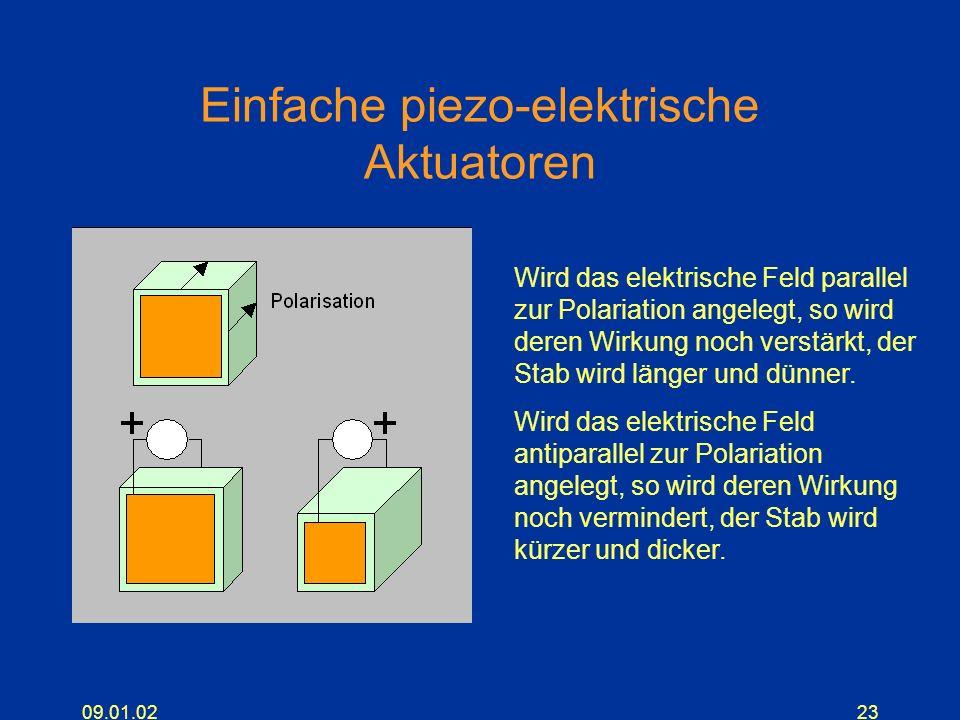 09.01.0223 Einfache piezo-elektrische Aktuatoren Wird das elektrische Feld parallel zur Polariation angelegt, so wird deren Wirkung noch verstärkt, de