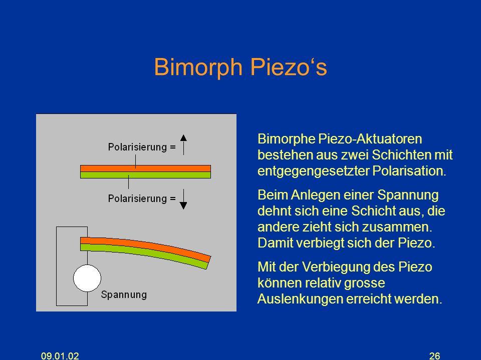 09.01.0226 Bimorph Piezos Bimorphe Piezo-Aktuatoren bestehen aus zwei Schichten mit entgegengesetzter Polarisation. Beim Anlegen einer Spannung dehnt